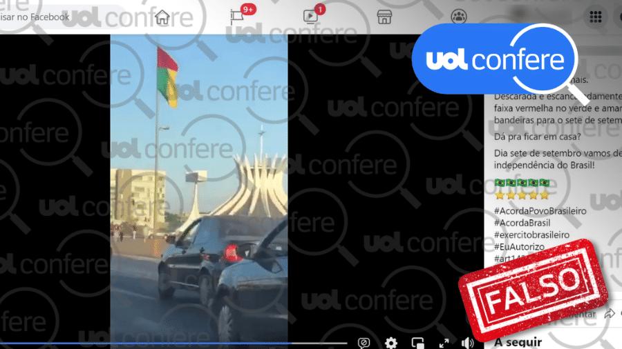 """24.ago.2021 - Print de vídeo com a alegação falsa de que """"estão colocando uma faixa vermelha na nossa bandeira verde e amarela"""". Bandeiras têm as cores de Guiné-Bissau, cujo presidente visita o Brasil - Arte sobre reprodução/Facebook"""