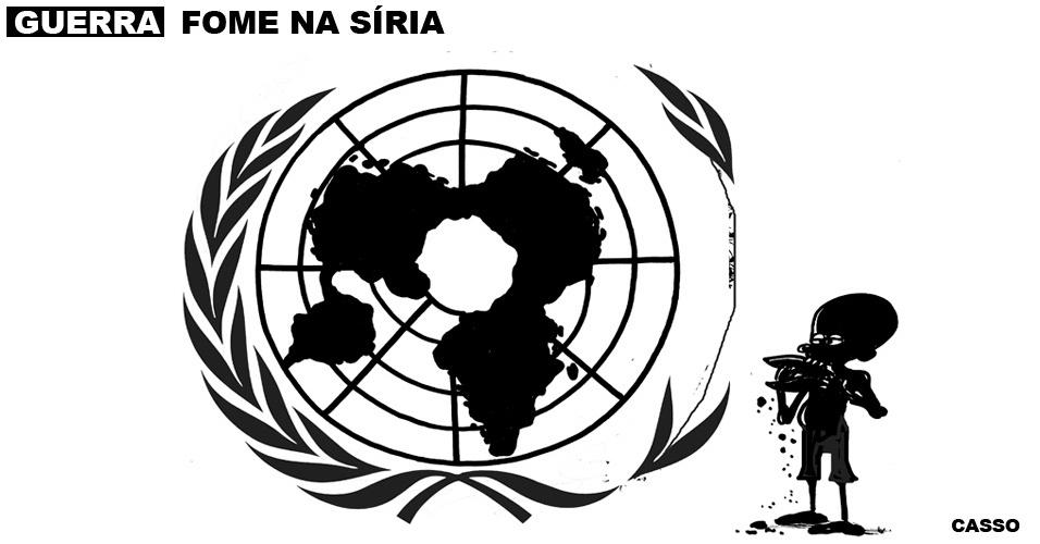 14.jan.2016 - Na fome dos sírios, qualquer folha serve. Até a bandeira da ONU.