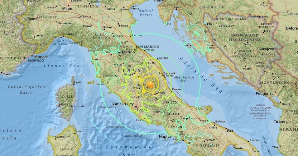 Mapa interativo - região atingida por terremoto no centro da Itália