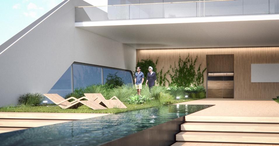 05.ago.2016 - Um jardim natural está projetado ao lado da piscina de 20m