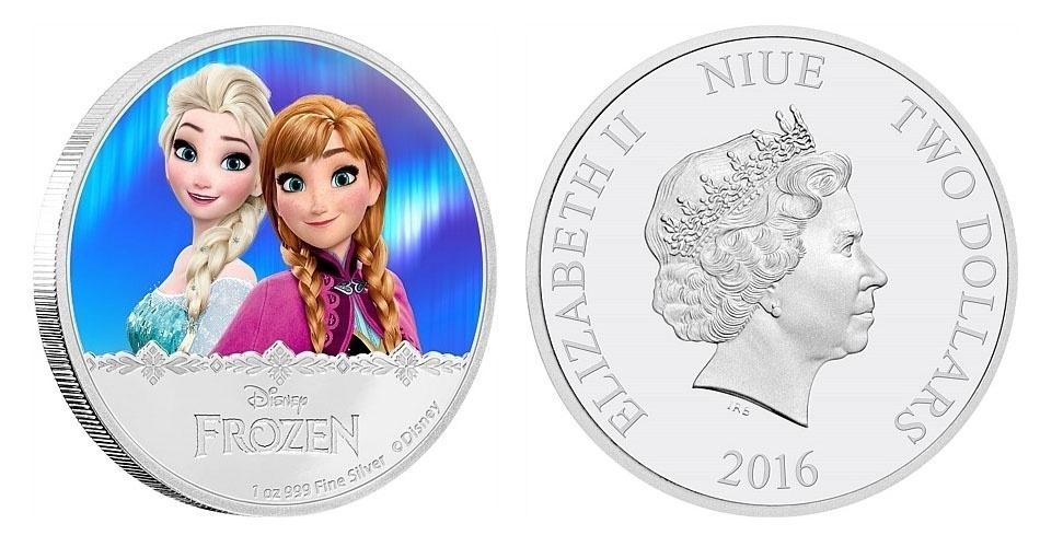 """Moeda de 2 dólares de Niue, ilha do Pacífico que é um território associado da Nova Zelândia, estampada com as personagens Elsa e Anna, da animação """"Frozen""""; a edição faz parte de uma série especial em homenagem ao filme da Disney"""