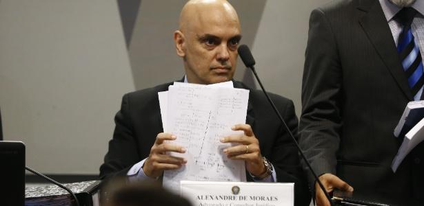 Alexandre de Moraes em sabatina na CCJ do Senado. Indicado pelo presidente Michel Temer, o advogado foi aprovado para assumir o cargo de ministro do STF