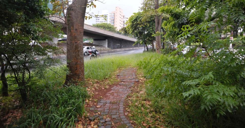 26.abr.2017 - Calçada na avenida Sena Madureira com a rua José Ferreira Pinto, em frente ao Hotel Grand Mercure, na Vila Mariana, zona sul de São Paulo, também está com mato bem alto