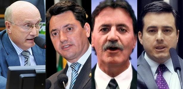 A partir da esq., Osmar Serraglio, Sérgio Souza, Hermes Parcianello e João Arruda, que formam a bancada de deputados federais do PMDB do Paraná