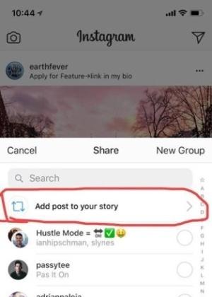Finalmente, você poderá compartilhar as fotos mais legais de seu feed por meio do Stories