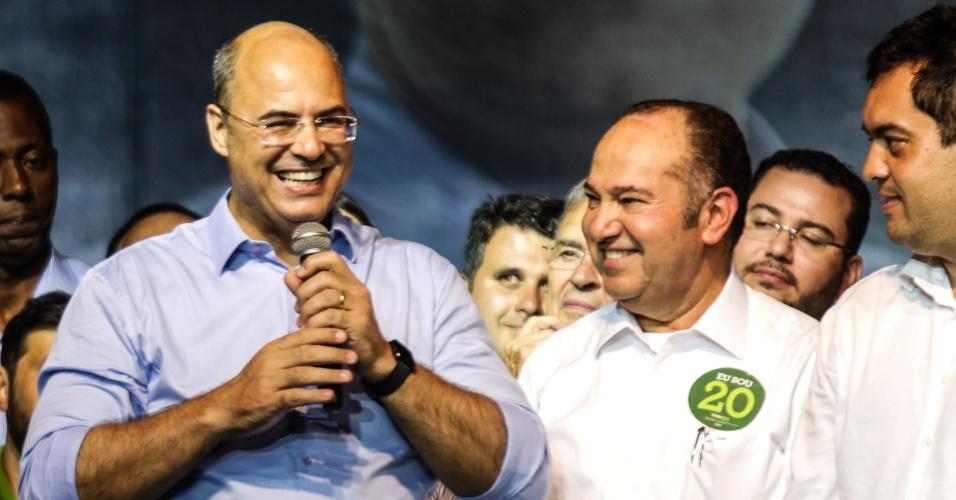 O candidato eleito governador Wilson Witzel (PSC) concedeu coletiva de imprensa e participou da festa da vitoria no Hotel Ramada, no Rio de Janeiro