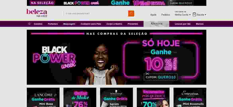 Site Beleza na Web - Reprodução