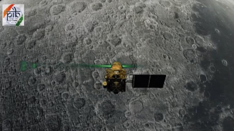 Arte do módulo Vikram, que faz parte do projeto indiano Chandrayaan-2 para explorar novas regiões da Lua - Reprodução/YouTube