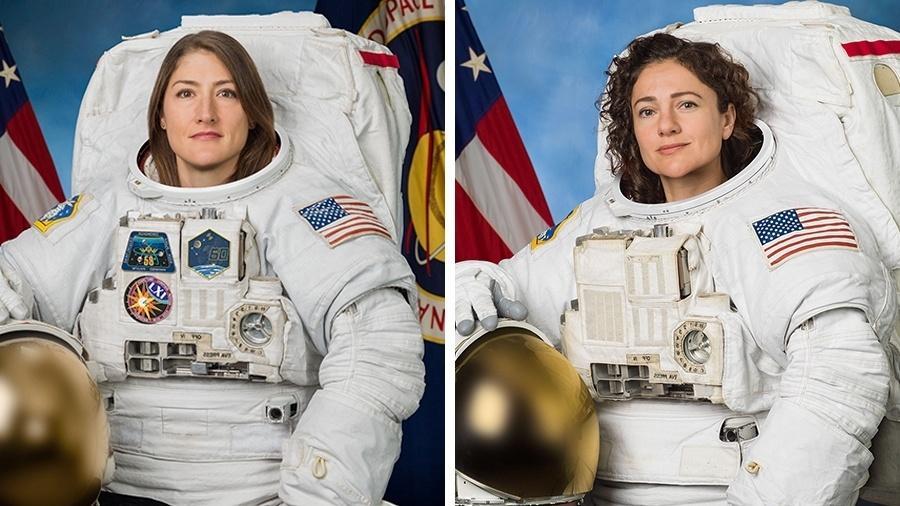 Christina Koch (esq.) e Jessica Meir, primeiras mulheres a realizarem juntas uma caminhada espacial - Nasa/Divulgação