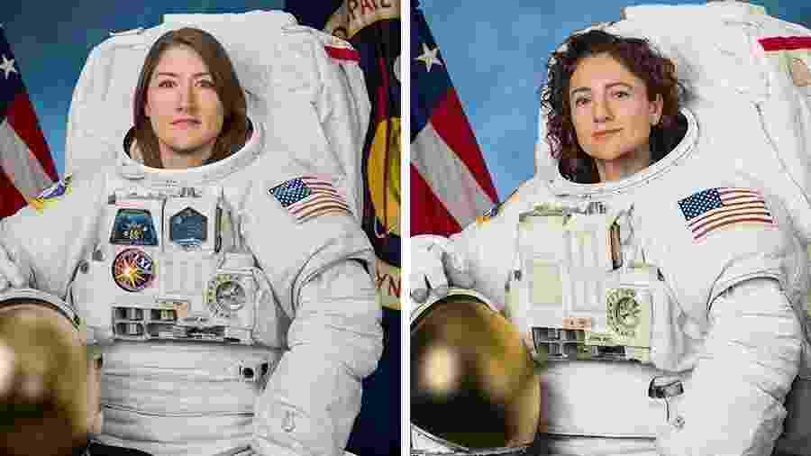 Christina Koch e Jessica Meir, primeiras mulheres a realizarem juntas uma caminhada espacial - Nasa/Divulgação