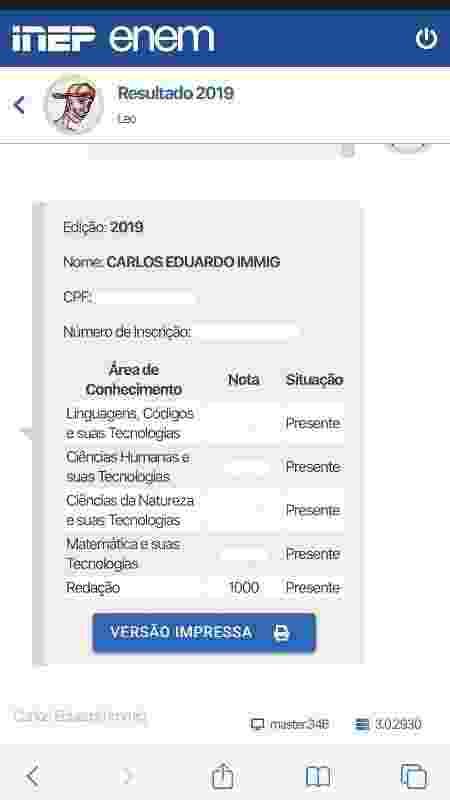 Carlos Eduardo tirou 1.000 na redação - Reprodução - Reprodução