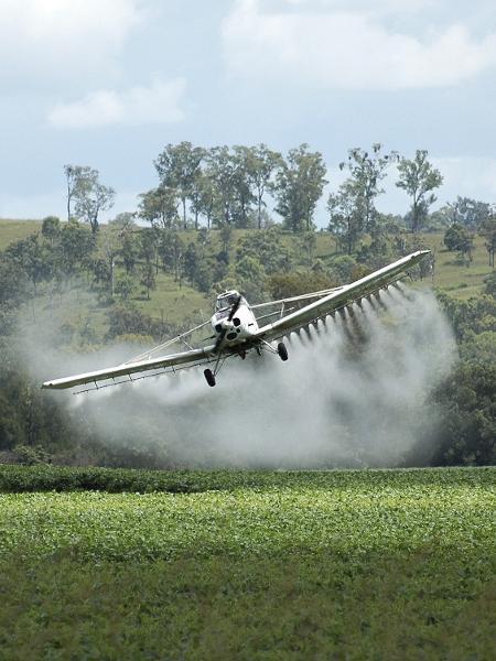 Avião borrifa agrotóxicos sobre plantação - Getty Images