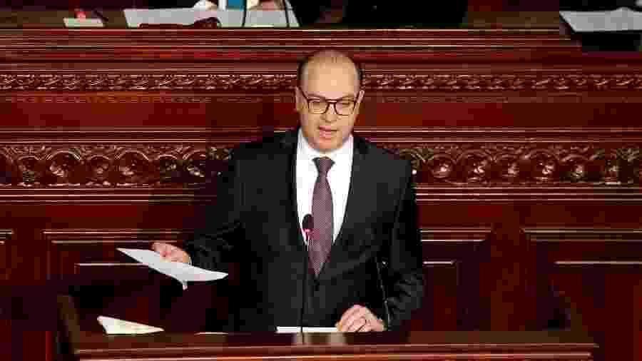 26.fev.2020 - O primeiro-ministro da Tunísia, Elyes Fakhfakh, durante discurso na Assembleia Representativa - Zoubeir Souissi/Reuters