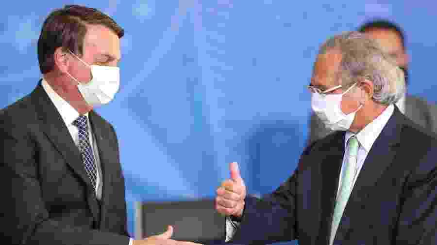 O presidente Jair Bolsonaro (sem partido) e o ministro da Economia, Paulo Guedes - Gabriela Biló/Estadão Conteúdo