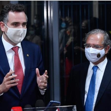 O presidente do Senado, Rodrigo Pacheco, e o ministro da Economia, Paulo Guedes - Marcos Brandão/Senado Federal