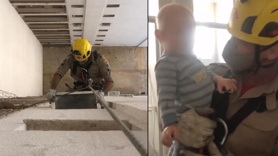 Bebê de 1 ano foi resgatado pelos bombeiros em Goiânia após se trancar no banheiro do apartamento - Corpo de Bombeiros de Goiás/Divulgação