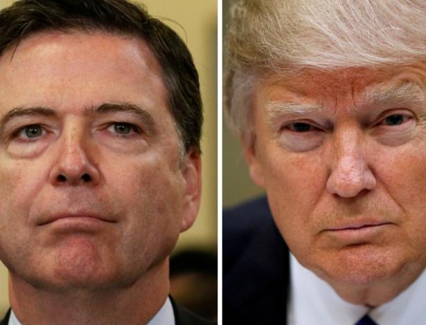 O ex-diretor do FBI James Comey e o presidente dos EUA, Donald Trump