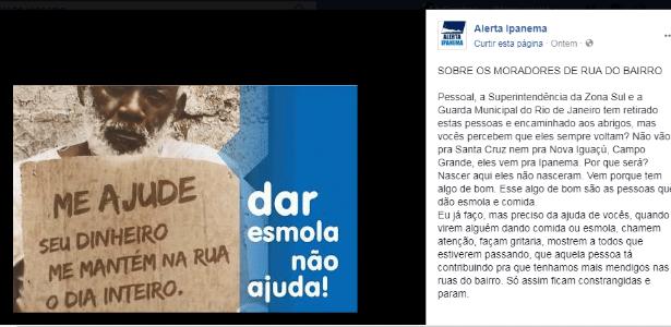 Campanha antiesmola pede em redes sociais que moradores evitem ajudar quem vive nas ruas - Reprodução/Alerta Ipanema/Facebook