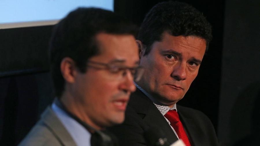 24.out.2017 - O então juiz Sergio Moro e o procurador Deltan Dallagnol durante evento em São Paulo - HÉLVIO ROMERO/ESTADÃO CONTEÚDO