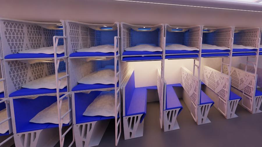 Projeto prevê a criação de beliches na classe econômica dos aviões - Divulgação