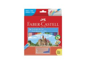 Kit Lápis de Cor Sextavado + Apontador com Depósito Faber-Castell - 24 Cores - Amazon - Amazon