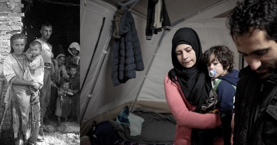 O drama das famílias é muitas vezes parecido e os pequenos sofrem. Na Albânia, em 1945, uma mulher aparece com uma criança de colo na porta de um acampamento, Imagem semelhante ocorreu em uma tenda temporário da Grécia em 2015