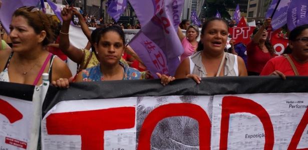 Mulheres acabaram divergindo sobre rumos e ato foi dividido em dois: de um lado as contra e de outro as a favor de Dilma