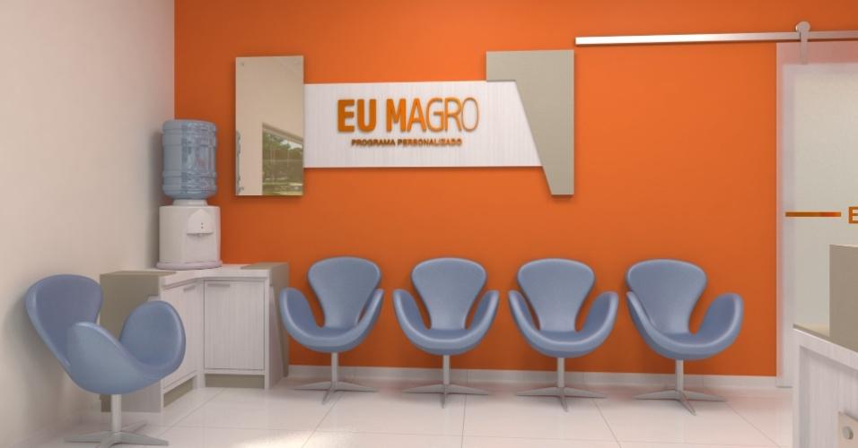Sala de espera da Clínica Eu Magro, da psicóloga Francielli Gonçalves, de Cascavel (PR).