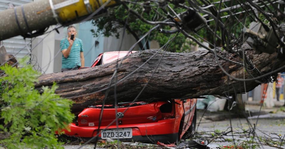 21.out.2016 - Após a tempestade, uma árvore de grande porte e um poste de energia caíram na rua Albion, na Lapa, e atingiram um carro estacionado