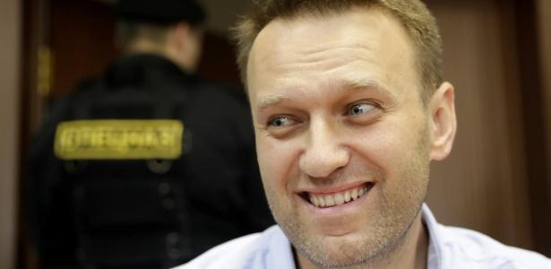 O líder da oposição russa Alexei Navalny durante audiência em um tribunal em Moscou