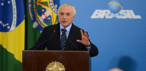 13.jul.2017 - Michel Temer durante a sanção da reforma trabalhista, em Brasília