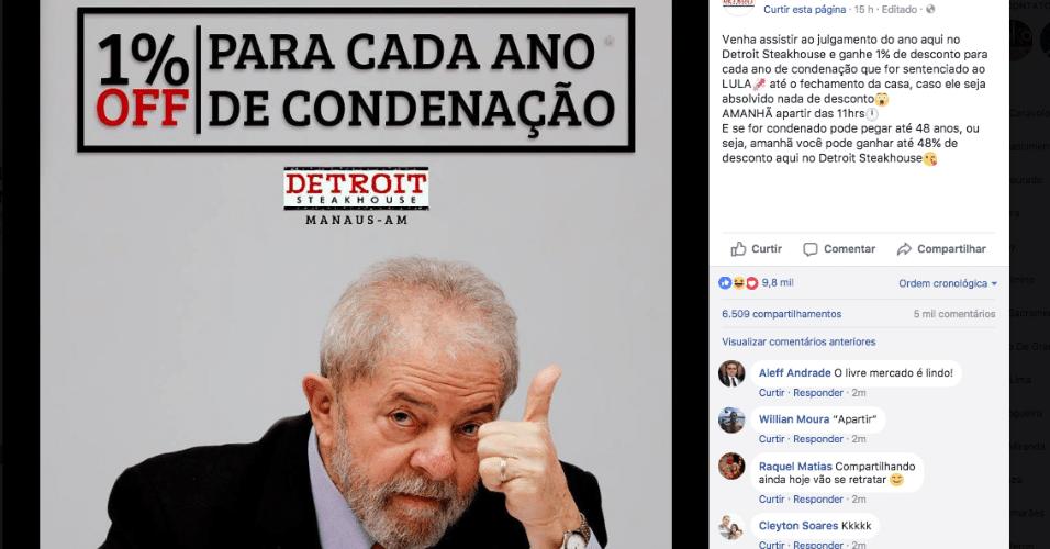 24.jan.2018 - Postagem no Facebook da unidade de Manaus da rede Detroit Steakhouse oferece 1% de desconto para cada ano de condenação do ex-presidente Luiz Inácio Lula da Silva (PT)