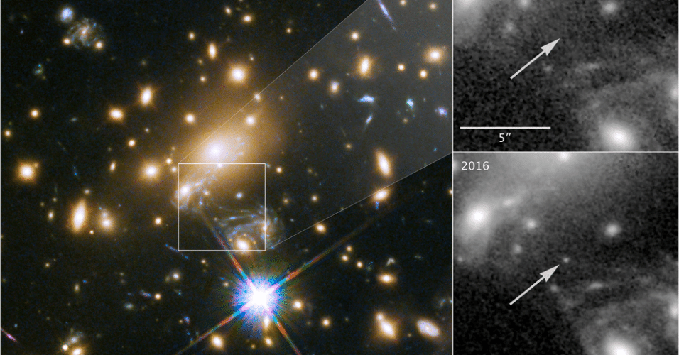 """ESTRELA MAIS DISTANTE - Uma equipe internacional de pesquisadores encontrou a estrela mais distante já vista, a nove bilhões de anos-luz da Terra, segundo um estudo publicado na revista """"Nature Astronomy"""""""