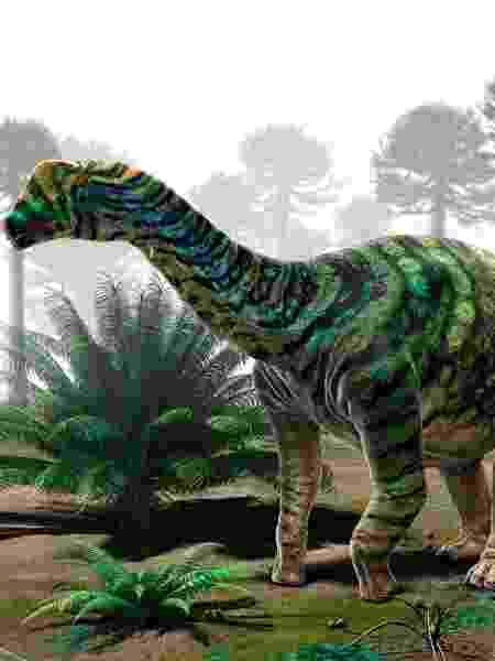 O dinossauro Brasilotitan, encontrado na região que corresponde, hoje, ao interior de São Paulo - Rodolfo Nogueira / Reprodução