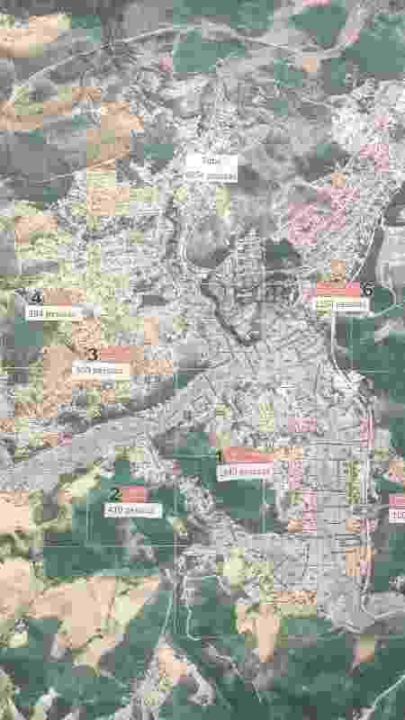 Mapa de Barão de Cocais com os pontos de encontro e a quantidade de pessoas que devem ser recebidas em cada um no caso de rompimento da barragem Sul Superior - Luciana Quierati/UOL