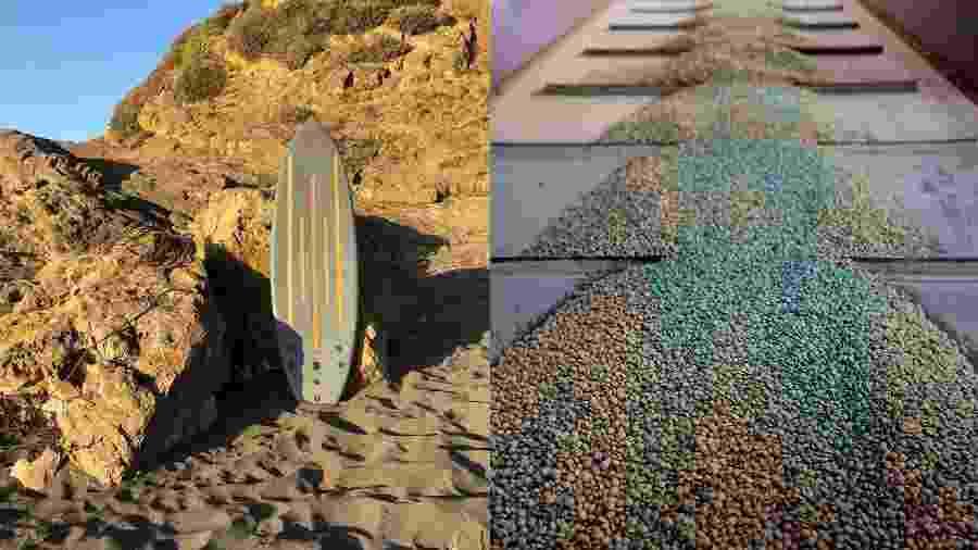Prancha de surfe sustentável criada pela Sustentabla. À direita, o pellet, biocombustível usado como matéria prima para a fabricação das pranchas - Arquivo pessoal
