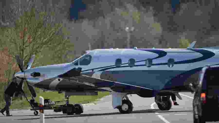 Foto de arquivo do monomotor Pilatus PC-12, mesmo modelo da aeronave que caiu em Dakota do Sul e deixou 9 pessoas mortas - Felix Kaestle/ AFP