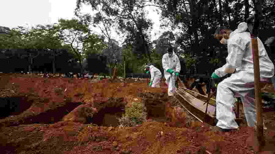 Vítimas da covid-19 são sepultadas no Cemitério da Vila Formosa, na zona leste de São Paulo - Werther Santana/Eestadão Conteúdo