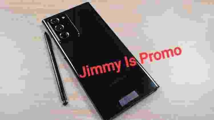 Versão bronze do Galaxy Note 20 Ultra bate com a cor das imagens promocionais do evento - Reprodução/Jimmy is Promo - Reprodução/Jimmy is Promo