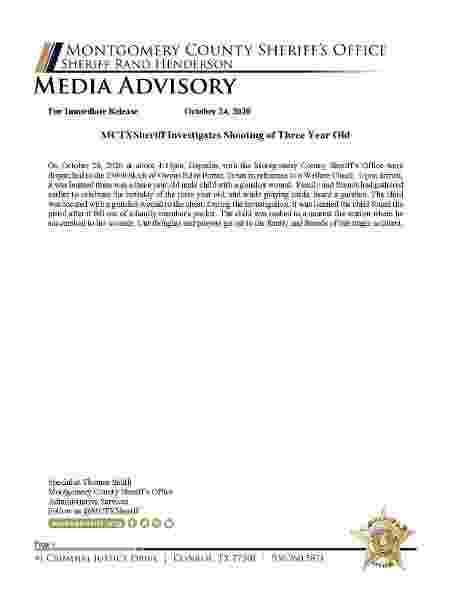 25.out.2020 -- Comunicado de imprensa sobre a morte de menino de 3 anos que disparou contra o peito no Texas - Reprodução/Facebook