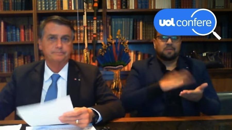 12.ago.2021 - O presidente Jair Bolsonaro (sem partido) em live nas redes sociais - Arte sobre Reprodução/YouTube Jair Bolsonaro