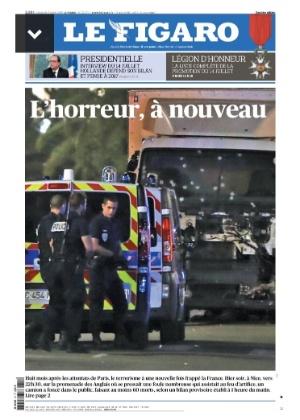 """14.jul.2016 - """"O horror, de novo"""" é manchete do jornal francês Le Figaro após ataque que resultou na morte de dezenas de pessoas mortas após um caminhão atropelar uma multidão durante celebração da Queda da Bastilha, maior feriado nacional francês, no centro de Nice, na Riviera Francesa"""