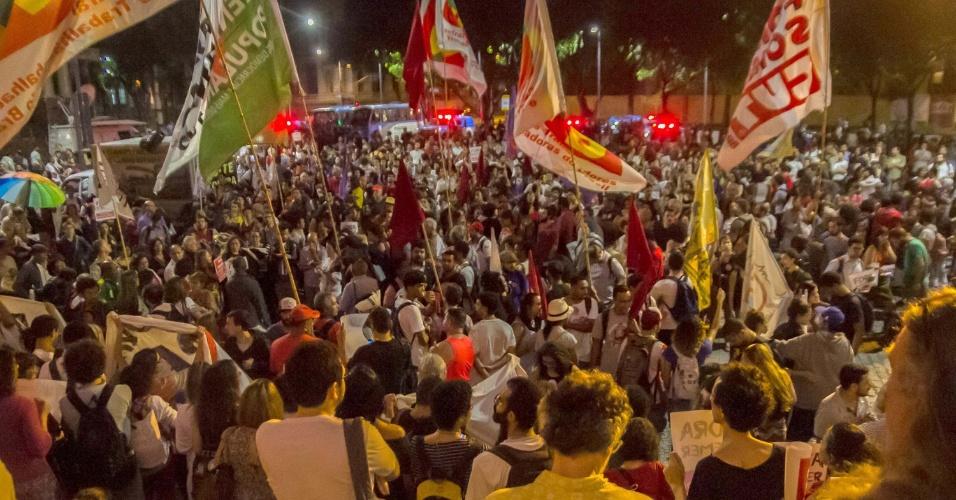 31.ago.2016 - Manifestantes protestam contra o impeachment da ex-presidente Dilma Rousseff no centro do Rio de Janeiro. O impeachment foi aprovado por 61 votos a favor e 20 contra