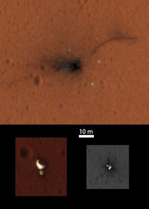 Imagens mostram partes do módulo ExoMars Schiaparelli e seu local de aterrissagem em Marte