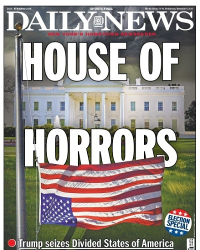 """09.nov.2016 - Na primeira página, o jornal nova-iorquino Daily News fez referência ao seriado """"House of Cards"""" (castelo de cartas, em tradução livre), que mostra os bastidores da presidência dos EUA, com a manchete """"House of Horrors"""" (casa de horrores). O jornal fala sobre a vitória de Trump em Estados divididos e diz que """"repuslão"""" é sinal de """"pesadelo nacional"""""""