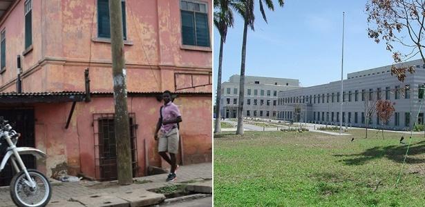 A embaixada americana falsa (esq.) em Gana não era nem um pouco parecida com a verdadeira