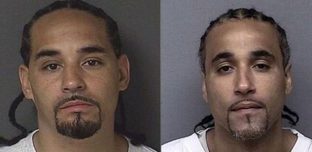 Richard Jones (à dir.) foi libertado depois que polícia descobriu seu sósia (à esq.)