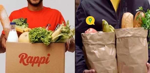 """Rappi (esq.) e Glovo (dir.) prometem entregar """"qualquer coisa"""" para você"""