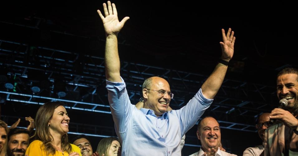 28.out.2018 - O candidato eleito governador Wilson Witzel (PSC) concedeu coletiva de imprensa e participou da festa da vitoria no Hotel Ramada