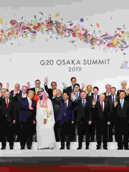 28.jun.2019 - Líderes no Encontro do G20 em Osaka, no Japão - LUDOVIC MARIN/AFP